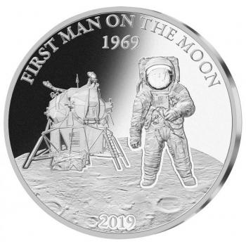 50 vuotta Ensimmäisestä miehitetystä Kuun kamaralle laskeutuneesta avaruuslennosta  - Barbados 5 $ 2019.v. 99,9%  hopearaha,  1 unssi