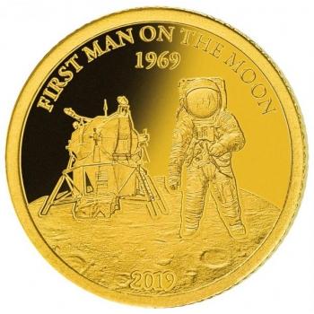 50 vuotta Ensimmäisestä miehitetystä Kuun kamaralle laskeutuneesta avaruuslennosta  - Barbados 10 $ 2019.v. 99,9%  kultaraha 0,5 g