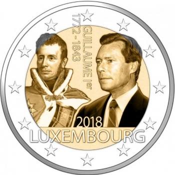 2 € юбилейная монета 2018 г. Люксембург - 125 лет со дня смерти Гийома I