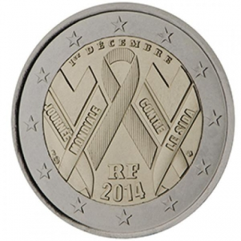 2 € юбилейная монета 2014  г. Франция - Всемирный день борьбы со СПИДом