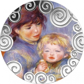 Äitiys taiteessa (Maternity in Art) Kamerunin 1000 Fr.  >>> 2019.v. 1 unssi 99,9% hopearaha väripainatuksella