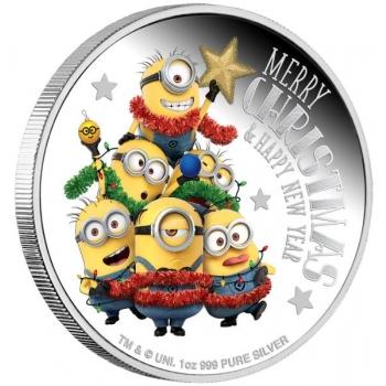 Käsilaste pühadetervitus - Niue saarte 2018.a. 2$ 1-untsine värvitrükis hõbemünt