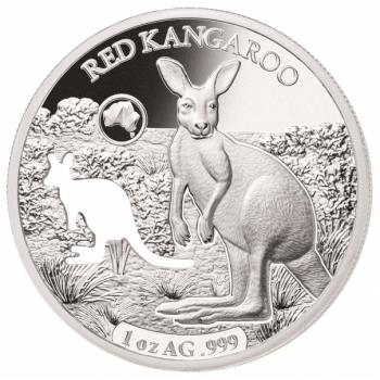 Austraalia loomad - Punane känguru - Saalomoni saarte 5 $ 2019.a  1 untsine laserlõikega 99,9% hõbemünt