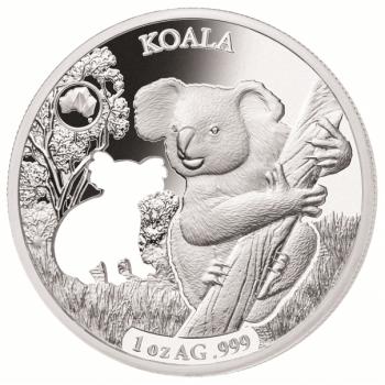 Austraalia loomad - Koala - Saalomoni saarte 5 $ 2019.a  1 untsine laserlõikega 99,9% hõbemünt