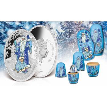 «Дед Мороз и Снегурочка»,  Соломоновы Острова 5$ 2019 г. 99,9% серебряная монета c цветной печатью, 31.1г