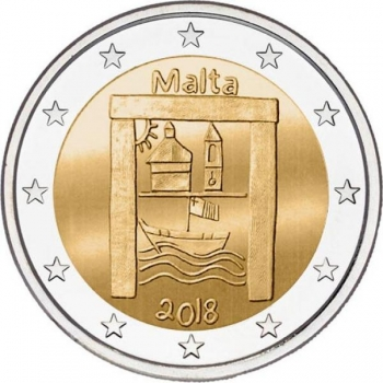 2 € юбилейная монета   2018 г. Мальта -Культурное наследие