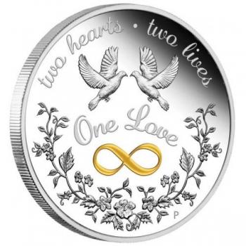 «Два сердца, две жизни, одна любовь» - Австралия 1 $  2021 г. 99,99% серебряная монета, 31,1  г.