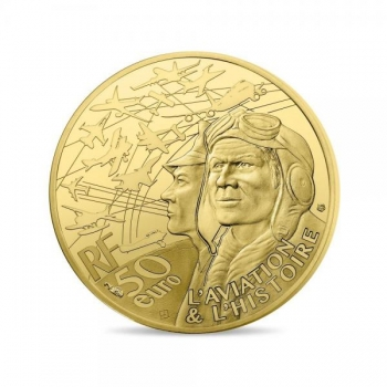 Lennunduse ajalugu - Transall,  Prantsusmaa 50€ 2018.a.  1/4 untsine 99,9% kuldmünt