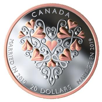 Häät 2019 - Kanada  20 $ 2019 v. 99,99% hopearaha kultauksella, 1 unssi g