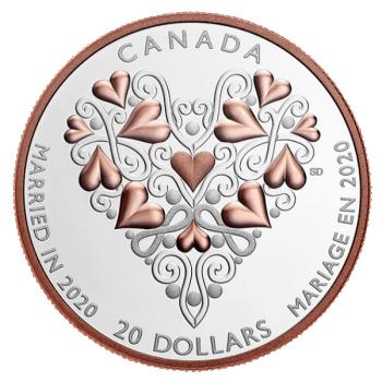 """""""Abiellunud 2020.a."""" - Kanada 20 $ 2020.a. 1-untsine 99.99% hõbemünt roosa kullatisega"""