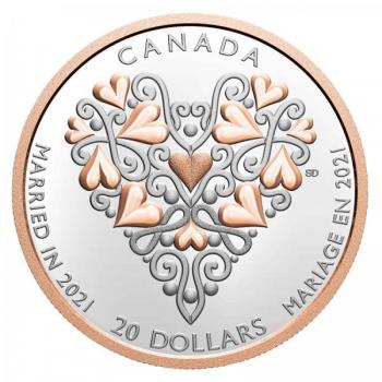 Häät 2021 - Kanada  20 $ 2021 v. 99,99% hopearaha kultauksella, 1 unssi g