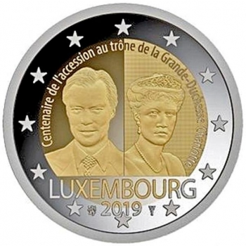Luxembourg 2€ commemorative coin 2019 - The 100th anniversary of the accession to the throne of Grand Duchess Charlotte