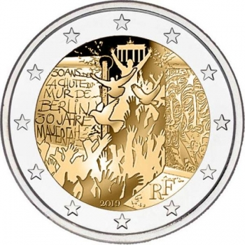 2 € юбилейная монета 2019 г. Франция - 30-летие падения Берлинской стены