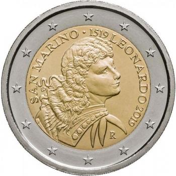 2 € юбилейная монета 2019  г.Сан -Марино -500 лет со дня смерти Леонардо да Винчи