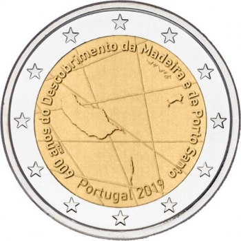 Portugali 2€ erikoisraha 2019 - 600 vuotta siitä, kun portugalilaiset merenkulkijat Bartolomeu Perestrelo ja Tristão Vaz löysivät Madeiran saariston