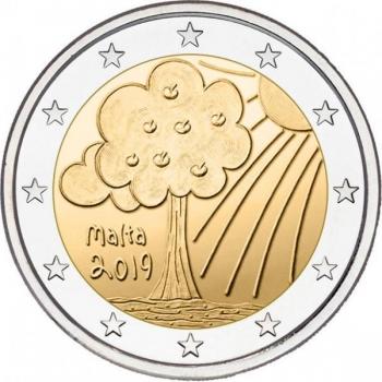 2 € юбилейная монета   2019 г. Мальта -Природа и окружающая среда