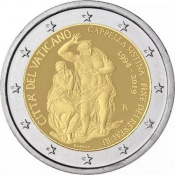 2 € юбилейная монета 2019  г.Ватикан  - 25-летие завершения реставрации Сикстинской капеллы