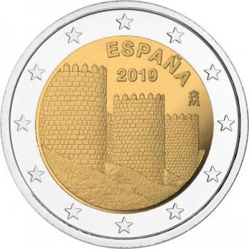 Espanja 2€ erikoisraha 2019 - Unescon maailmaperintökohteita – Ávilan vanhakaupunki ja sen muurin ulkopuolella olevat kirkot