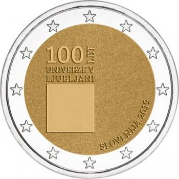 2 € юбилейная монета  2019 г. Словения  -100-летие со дня основания Люблянского университета