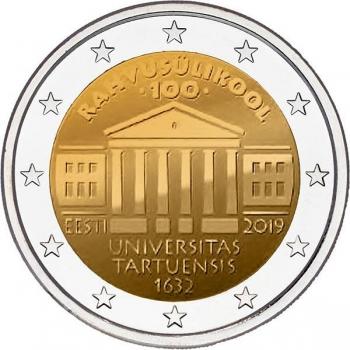 2 € юбилейная монета 2019 г. Эстония - 100-летие перевода обучения на эстонский язык Тартуского университета