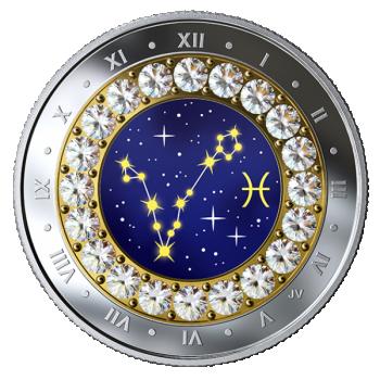 Horoskooppimerkit - Kalat - Kanada  5 $ 2019 v. 99,99% hopearaha, Swarovski® kristallia, 7,96 g