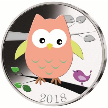 Pöllö - Samoa 2018.v. 1/2$ cu/ni raha väripainatuksella, 17 g