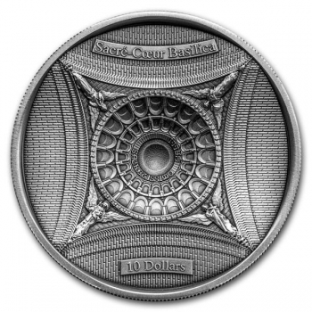 Sacré-Cœuri kirik- Saalomoni saarte 10 $ 2018.a antiikviimistlusega 99,99% hõbemünt, 100 g