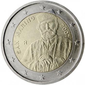 2 € юбилейная монета 2007  г.Сан -Марино - 200 лет со дня рождения Джузеппе Гарибальди