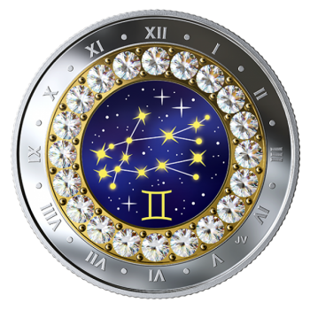 Horoskooppimerkit - Kaksoset - Kanada  5 $ 2019 v. 99,99% hopearaha, Swarovski® kristallia, 7,96 g
