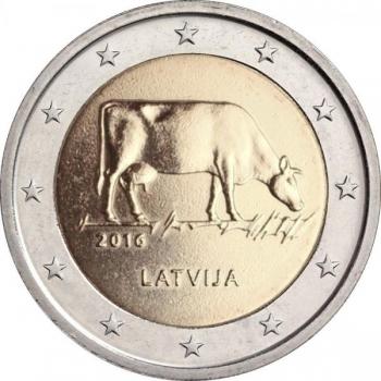 2 € юбилейная монета Латвия   2016 г. -Сельское хозяйство Латвии