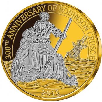 """«Робинзон Крузо"""" 300 лет от впервые опубликованного романа - Барбадос 0,25$ 2019.г. Набор из трёх позолоченных монет"""