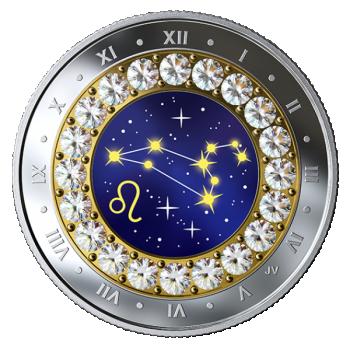 Horoskooppimerkit - Leijona - Kanada  5 $ 2019 v. 99,99% hopearaha, Swarovski® kristallia, 7,96 g