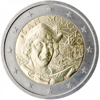 2 € юбилейная монета 2006  г.Сан -Марино - 500 лет со дня смерти Христофора Колумба