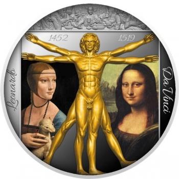 Renessansi geenius Leonardo Da Vinci-  Niue Saarte 2 $ 2019.a.  kullatisega värvitrükis 1-untsine 99.9% hõbemünt