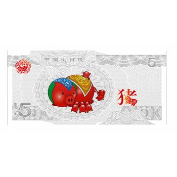 Год Кaбана 2019 -,  99,9% серебряная банкнота с цветной печатью, 5г