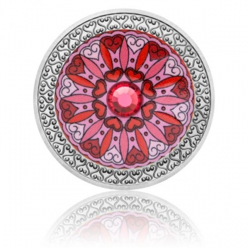 Mandala - Armastus - 99,9% hõbedast värvitrükis medal Tśehhi klaasist elemendiga,  16 g
