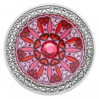 Mandala -Rakkaus 99,99% hopeamitali väripainauksella, Preciosa kristallia 16 g