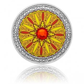 Mandala -Sõprus - 99,9% hõbedast värvitrükis medal Tśehhi klaasist elemendiga,  16 g