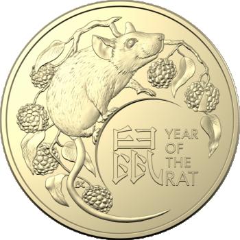 Год Крысы 2020  - Австралия 1 $ 2020 года.  Комплект из двух монет