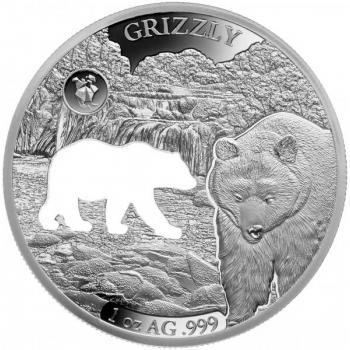 Amerika kuviot -Harmaakarhu (Grizzli) Barbados 5 $ 2020.v  1 unssi 99,9% hopearaha lasererleikauksella