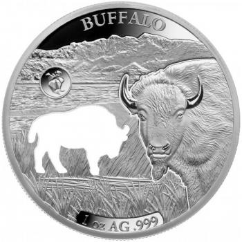 Ameerika loomad -Buffalo (Ameerika piison) - Barbadose 5 $ 2020. a  1 untsine laserlõikega 99,9% hõbemünt