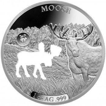 Shapes of America. Cut-Out Silver Coin Collection. Moose. Barbados 5$ 2020. 99,9% silver coin 1 oz