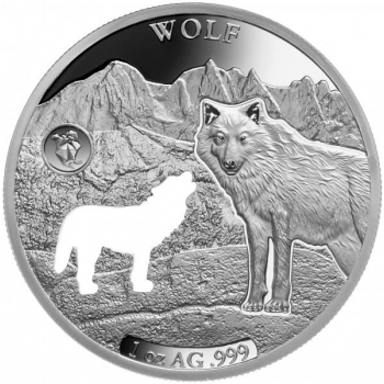 Ameerika loomad -Hunt- Barbadose 5 $ 2020. a  1 untsine laserlõikega 99,9% hõbemünt