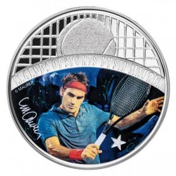 Spordilegendid Sid Maureri teostes - Roger Federer - Saalomoni saarte 5 $ 2018.a  1 untsine  99,9% hõbemünt