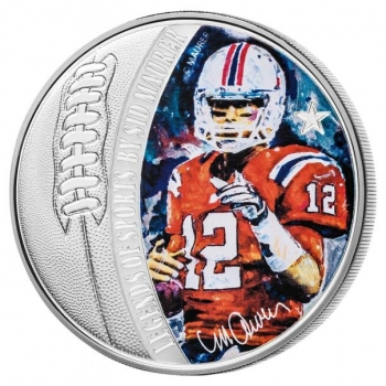 Spordilegendid Sid Maureri teostes - Tom Brady - Saalomoni saarte 5 $ 2018.a  1 untsine  99,9% hõbemünt