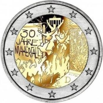 2 € юбилейная монета 2019 г. Германия - 30-летие падения Берлинской стены