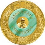 Celebrating 2500 Years Confucius  Solomon Islands 10$ 2021  99,99% gold coin with real Jade. 2 oz