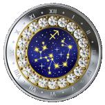 Знаки зодиака - Стрелец -  Канада 5$ 2019 г. 99,99% серебряная монета с кристаллами Swarovski® 7.96 гp.