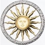 Elu sümbol - Päike - Barbadose 10  Fr 2019.a.   99,9% kuldmünt hõbedast raamis (ripats)