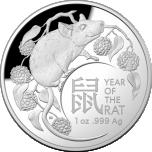 Год Крысы 2020  - Австралия 5 $ 99,99% серебряная монета , 31.107 г.